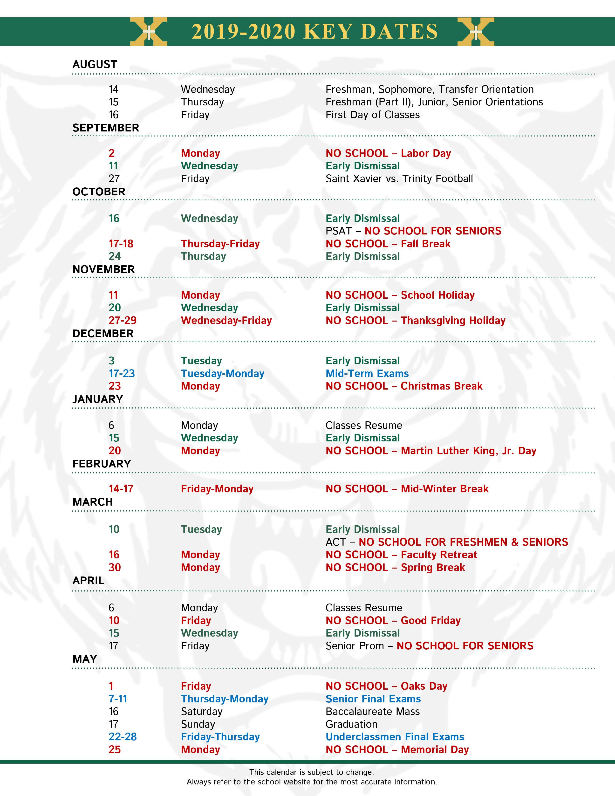 Xavier Calendar 2020 Calendar Key Dates   Saint Xavier High School